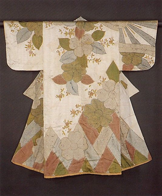 Kosode with pattern of cherry blossoms.  Period: Edo period (1615–1868). Date: second half of the 17th century. Culture: Japan. Medium: Silk and metallic thread on silk; resist-dyed and embroidered satin. Dimensions: 53 x 53 1/2 in. (134.6 x 135.9 cm).