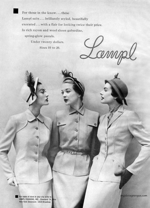 A trio of classically elegant Lampl skirt suits (worn with delightfully jaunty hats) from the 1950s. #vintage #dress #hat #fashion #1950s #models #suit
