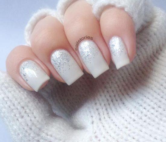 silver glitter gradient white wedding nails