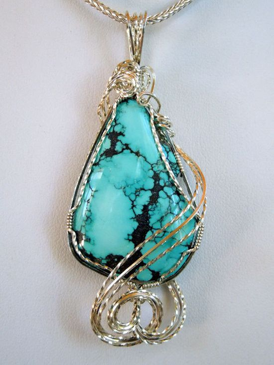 Turquoise Wire Wrapped Jewelry Pendant