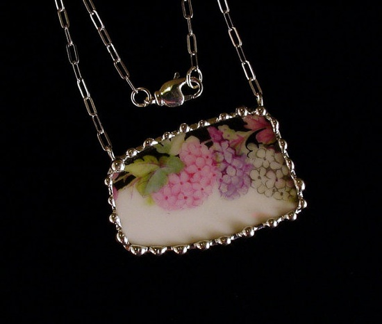 Hydrangea Broken china jewelry necklace by Dishfunctional Designs