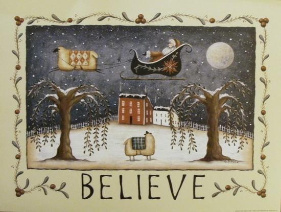 Whimsical BELIEVE Folk Art Santa and Sheep Print.