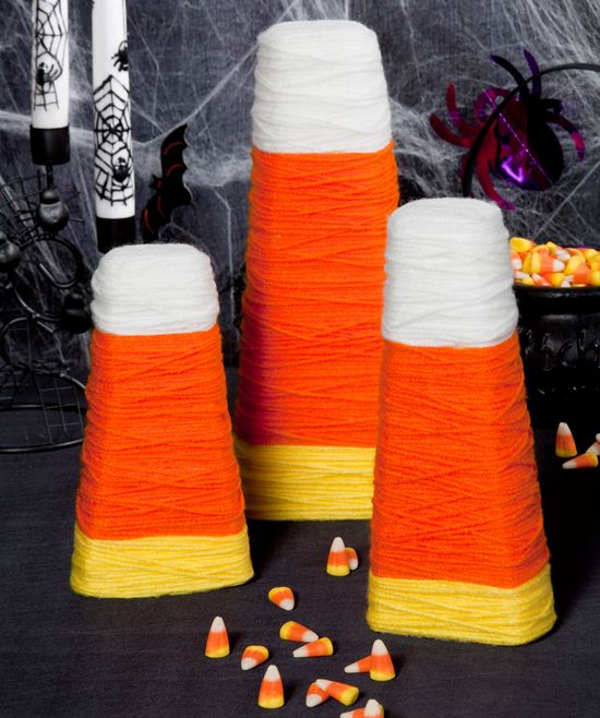 Candy Corn Wrapped Cones   #fun crafts  #halloween