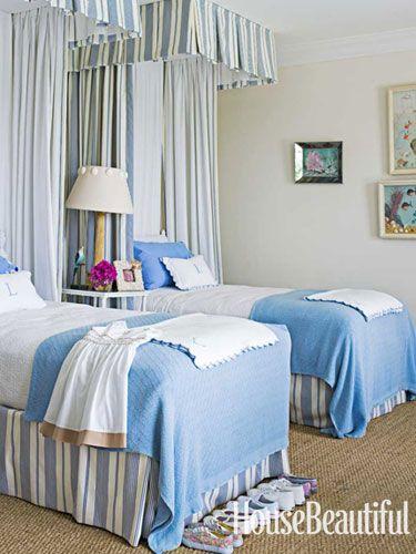 Blue bedroom. Design: Amanda Lindroth. Photo: James Merrell. housebeautiful.com. #bedroom #kids_room #kids_bedroom #blue-- the Ceiling Valances add to make this a more feminine room.