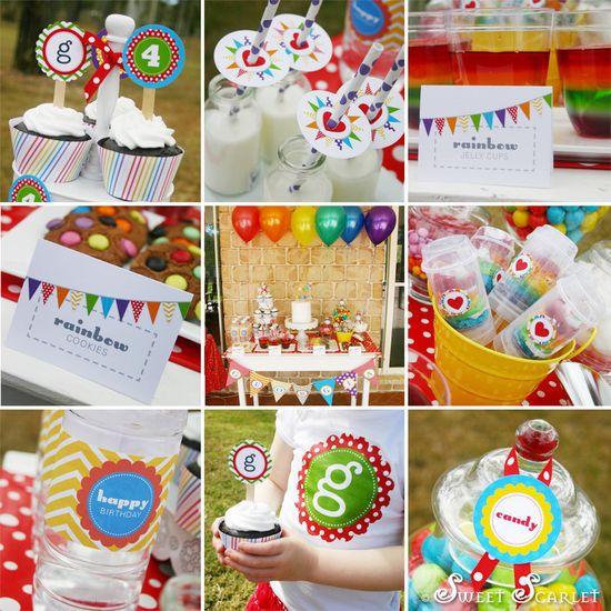 RAINBOW Birthday Party Printable Set by SweetScarletDesigns