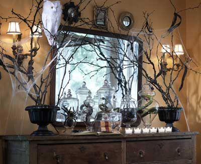 Halloween mantel...spiders and webs!
