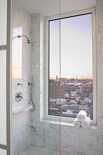 One of the best parts of staying at the Mondrian Soho - overlooking NYC in the shower.