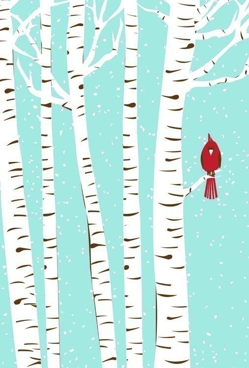 """Our 3-color, hand pulled, silkscreen print """"Winter Cardinal"""", inspired by my view from the home studio office window in snowy winter. (Available in my Etsy shop!)"""