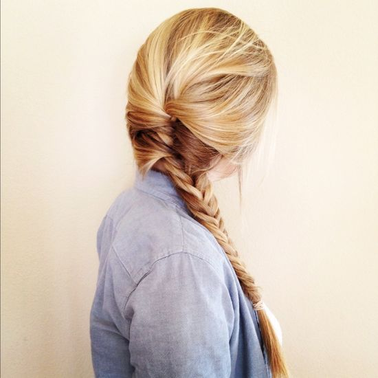 Half french braid, half fish tail braid.