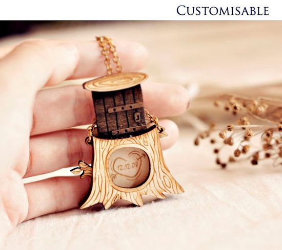Carve a special date, name or message into the hollow of your very own secret tree! A little slide up door shields your messages from prying eyes. $25.90