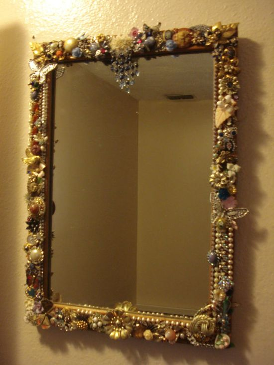 Repurposed Vintage Jewelry Framed Mirror - via Etsy.