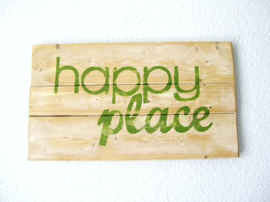 Typography Wall Art - Happy Place Wood Sign. $17.00, via Etsy.