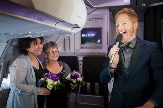 Lesbian couple makes history as the first same-sex couple to marry in New Zealand skies and celebrity actor Jesse Tyler Ferguson gets in on the ceremony! Read and see more at equallywed.com, the global leader in gay, lesbian and allied weddings.