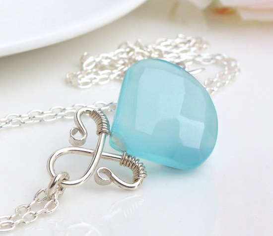 Silver wire wrap necklace, sky blue chalcedony necklace, sterling silver jewelry handmade light blue necklace, blue chalcedony jewelry. $65.00, via Etsy.