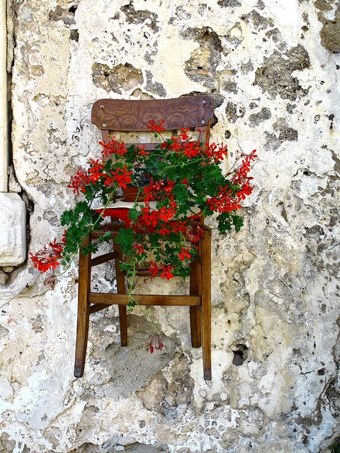 Hanging Chair with Flowers, Sicily, Italy