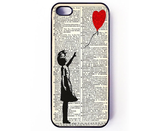 Iphone 5 Case - Banksy Balloon Girl Dictionary iPhone case for iPhone 5 - plastic or rubber. €14.00, via Etsy.