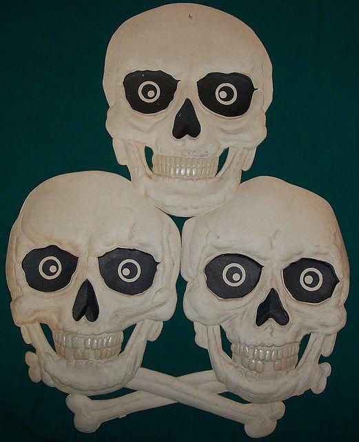 Stack of Skulls -Vintage German Halloween Diecut