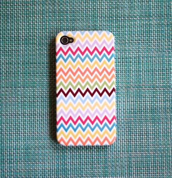 Multicolor Chevron iPhone case by PencilShavingsStudio on Etsy