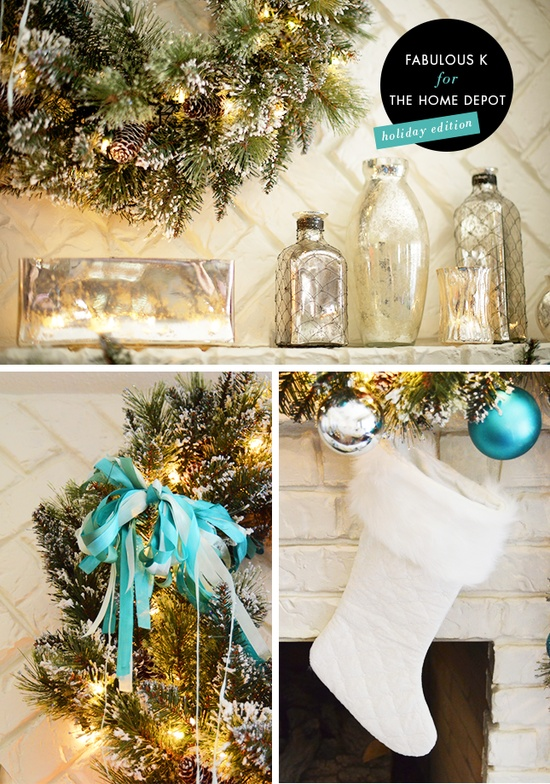 #turquoise #christmas #decorating @Blanca Prado #fauxfur #wreath #garland
