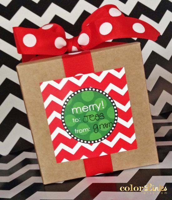 Chevron Christmas Gift Wrap Stickers