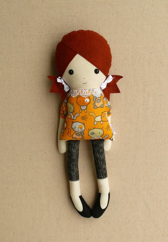 Fabric Doll Rag Doll Girl with Cat Dress by rovingovine on Etsy