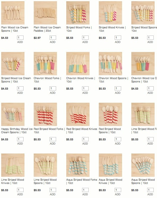 TONS of wooden spoons, forks & knives in all prints and colors! THESE are my FAV! From Kara's Party Ideas Shop
