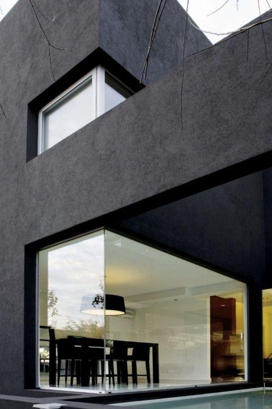 Black casa  wow - love the corner window detail #architecture #design