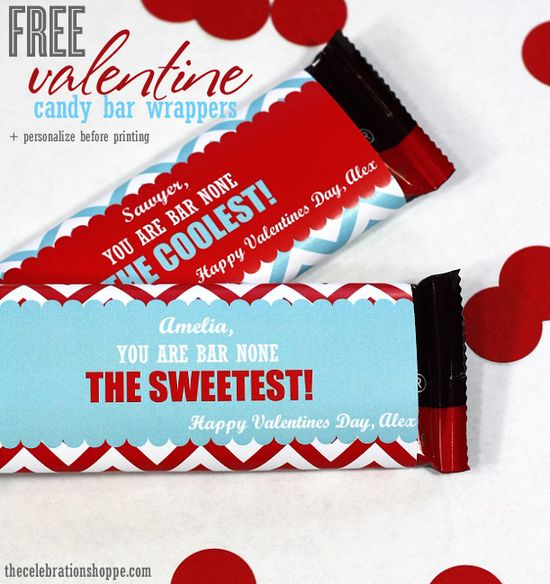 FREE Valentine candy bar wrappers from Kim at thecelebrationsho... ~ personalize in the file before you print!