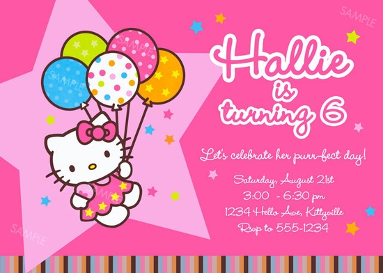 Hello Kitty Invitation for Birthday Party  by PoshberryParties, $9.99