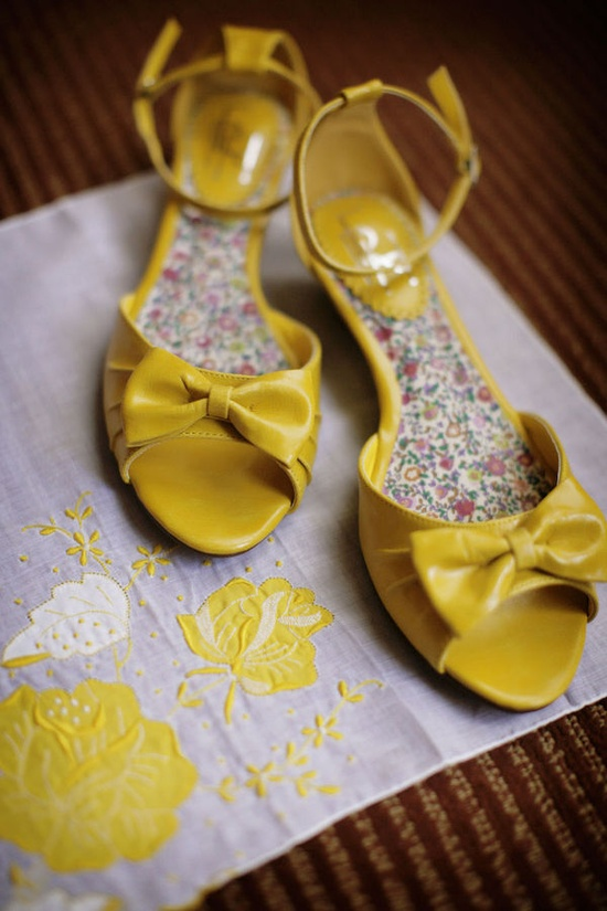yellow bow shoes