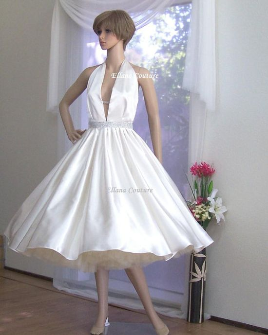 READY TO SHIP. Adeline - Vintage Inspired Tea Length Bridal Gown. Retro Style Halter Wedding Dress.