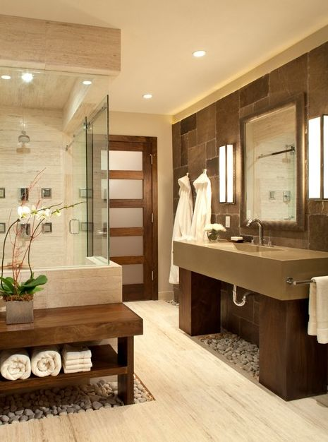 Pebbles in the #Bathroom?! This is like your own personal spa! www.remodelworks....