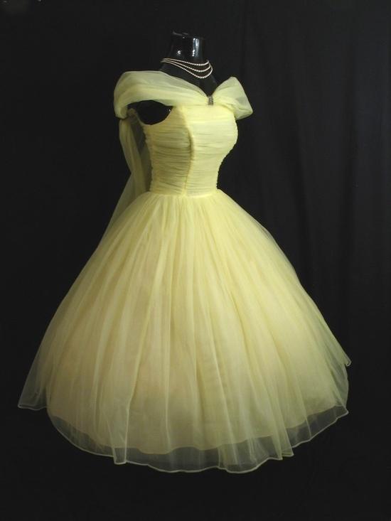 1950's yellow chiffon prom dress