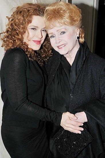 "Debbie Reynolds and Bernadette Peters backstage at ""Follies"""
