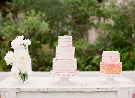 a trio of pretty cakes by www.baysideweddin...  Photography by ktmerry.com