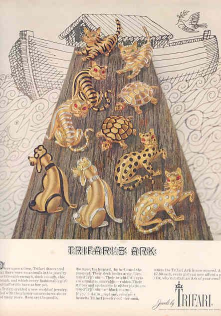 Trifari's Ark of adorable animal brooches. #vintage #jewelry #ads