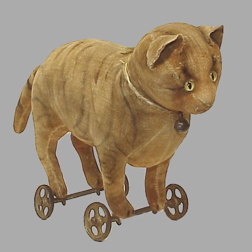 early steiff cat on wheels - velvet