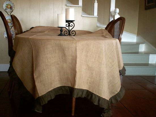 Large Natural Burlap Table Cloth with Brown Ruffle by SimplyAsThat, $88.00