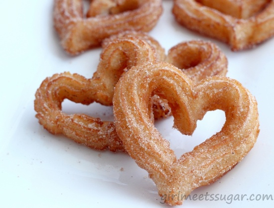 Heart-Shaped Churro Recipe; to be served with velvety melted chocolate, of course!
