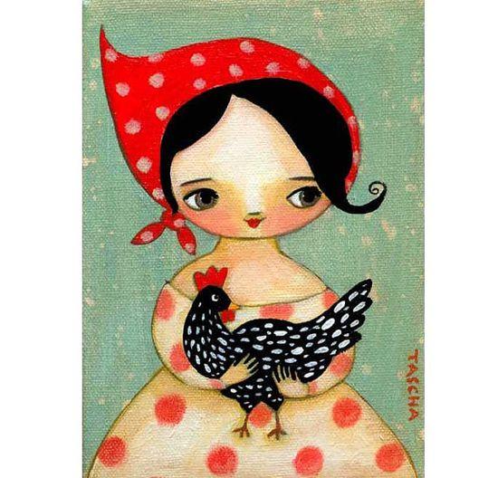 Babushka girl with black speckled CHICKEN sweet PRINT by tascha, $15.00