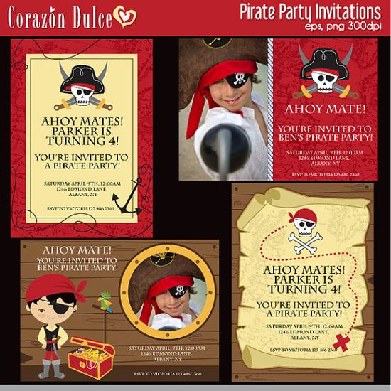 Pirate party invitations, cupcake toppers and place cards