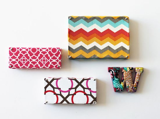 DIY wall art from shoe boxes and fabric. So many possibilities.