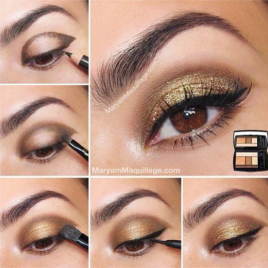 Gold glitter eyes #makeup