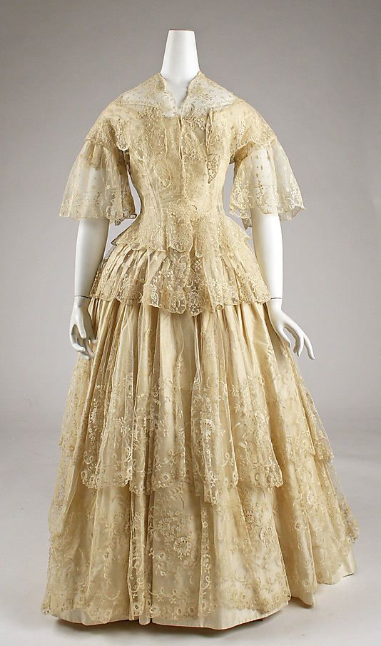Circa 1852 silk and cotton Ensemble, British.