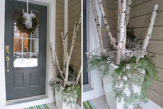 how to make birch branch winter arrangement