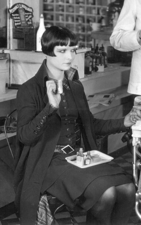 Louise Brooks offers barbery support in 1926's A Social Celebrity