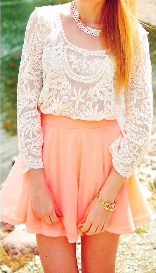 Pretty Crochet Top + Peach Skater Skirt - what a fun outfit idea, that looks really elegant. #lace #crochet #white #peach #shirt #long_sleeve #fashion #Fall