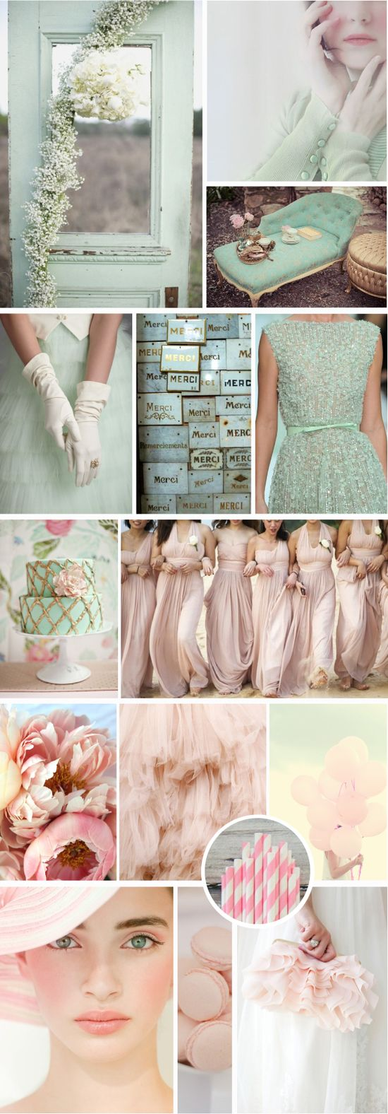 Blush and mint wedding inspiration from @Matt Valk Chuah White Dress by the shore