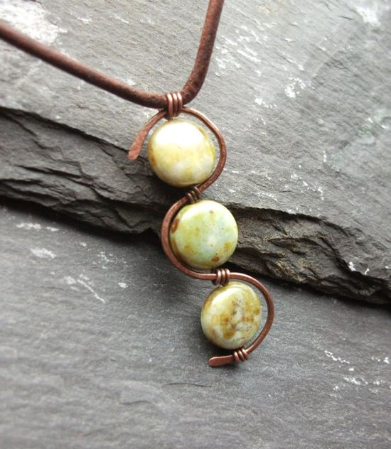 Leather Czech glass Picasso Bead and Copper by byNaturesDesign, $16.00