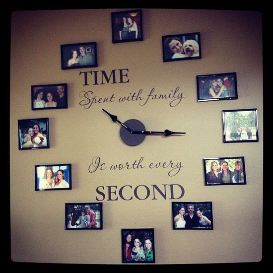 """Time spent with family is worth every second"" wall clock. Then have the right number of people in each picture to correspond with a number on a clock"